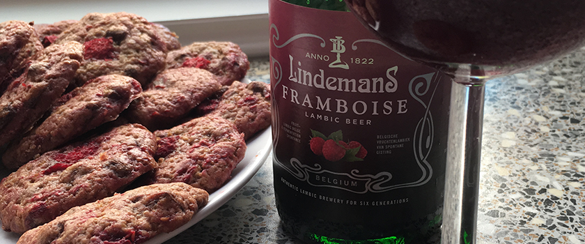 raspberry lambic chocolate chip cookies